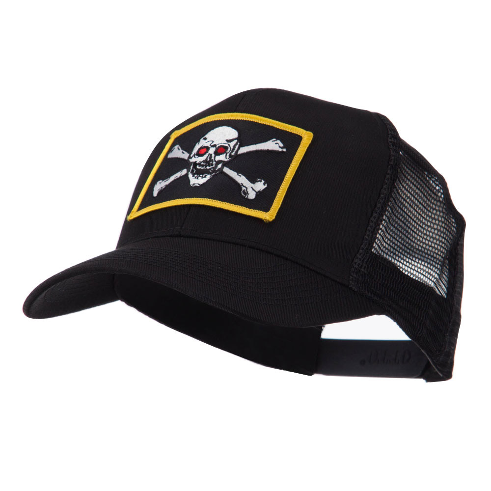 Skull and Choppers Embroidered Military Patched Mesh Cap - Red Eyes - Hats and Caps Online Shop - Hip Head Gear