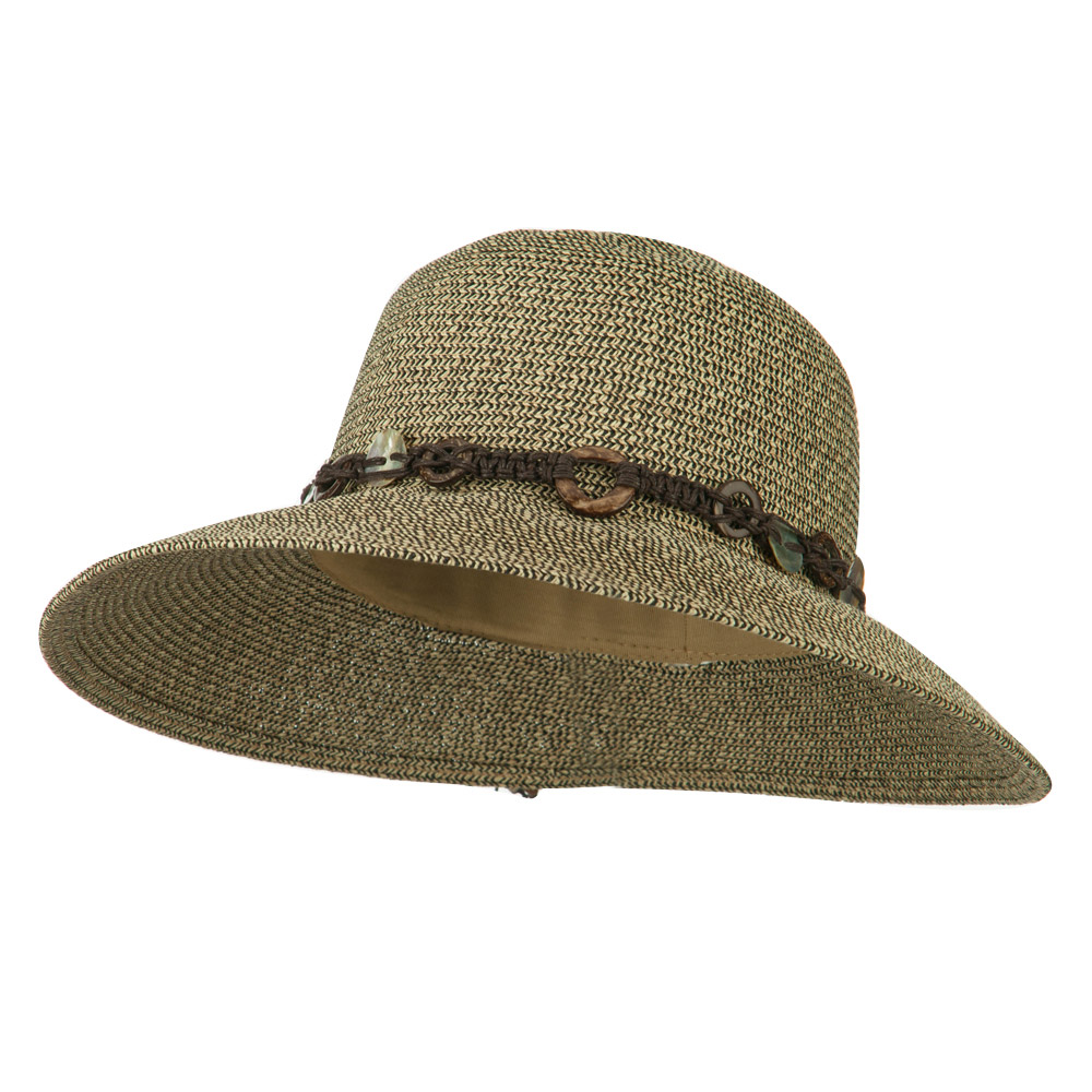 UPF 50+ Shell String Band Paper Braid Hat - Black Tan - Hats and Caps Online Shop - Hip Head Gear