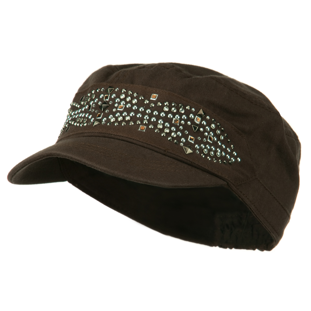 Military Cap with Stud - Brown - Hats and Caps Online Shop - Hip Head Gear