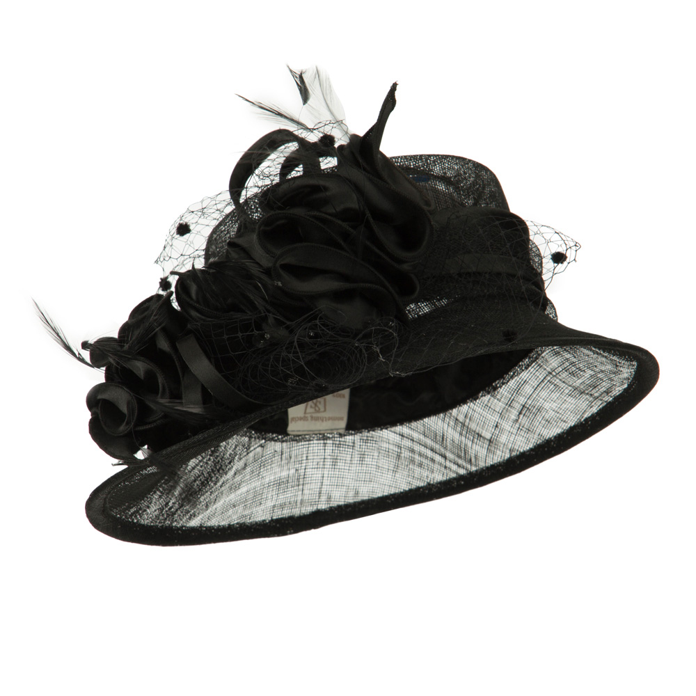 Slanted Brim Fashion Sinamay Hat - Black - Hats and Caps Online Shop - Hip Head Gear