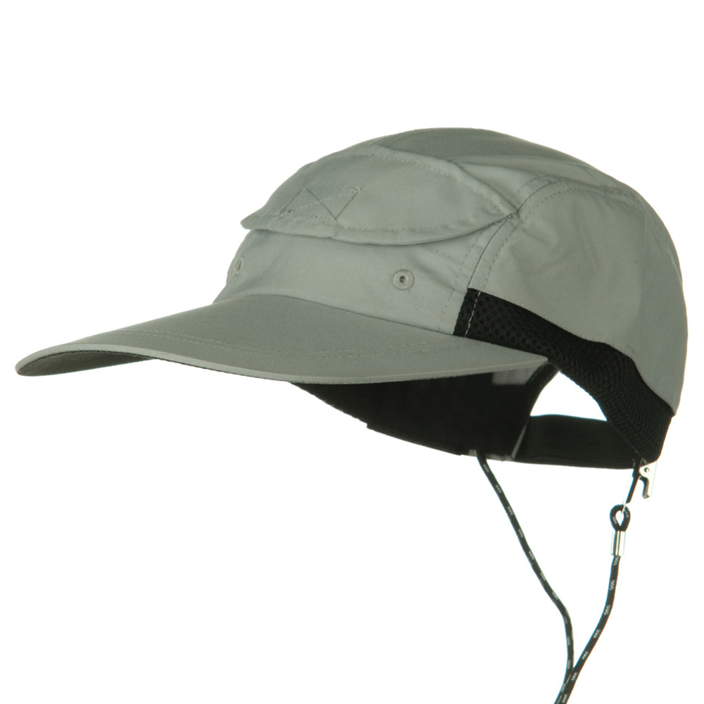 Side Mesh Microfiber Water Repellent Long Bill Cap - Grey - Hats and Caps Online Shop - Hip Head Gear