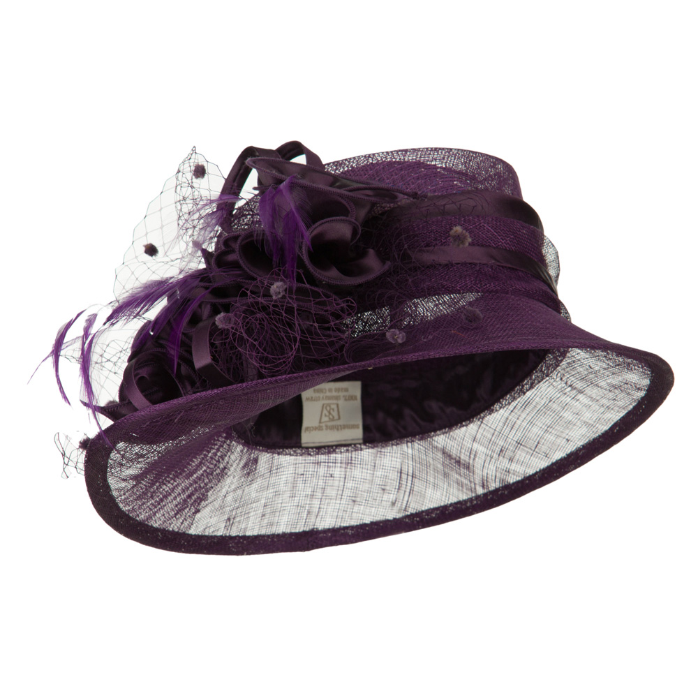 Slanted Brim Fashion Sinamay Hat - Purple - Hats and Caps Online Shop - Hip Head Gear