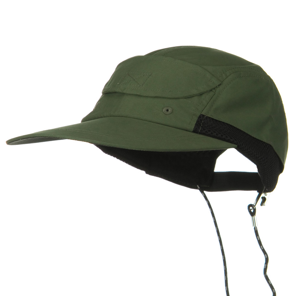 Side Mesh Microfiber Water Repellent Long Bill Cap - Olive