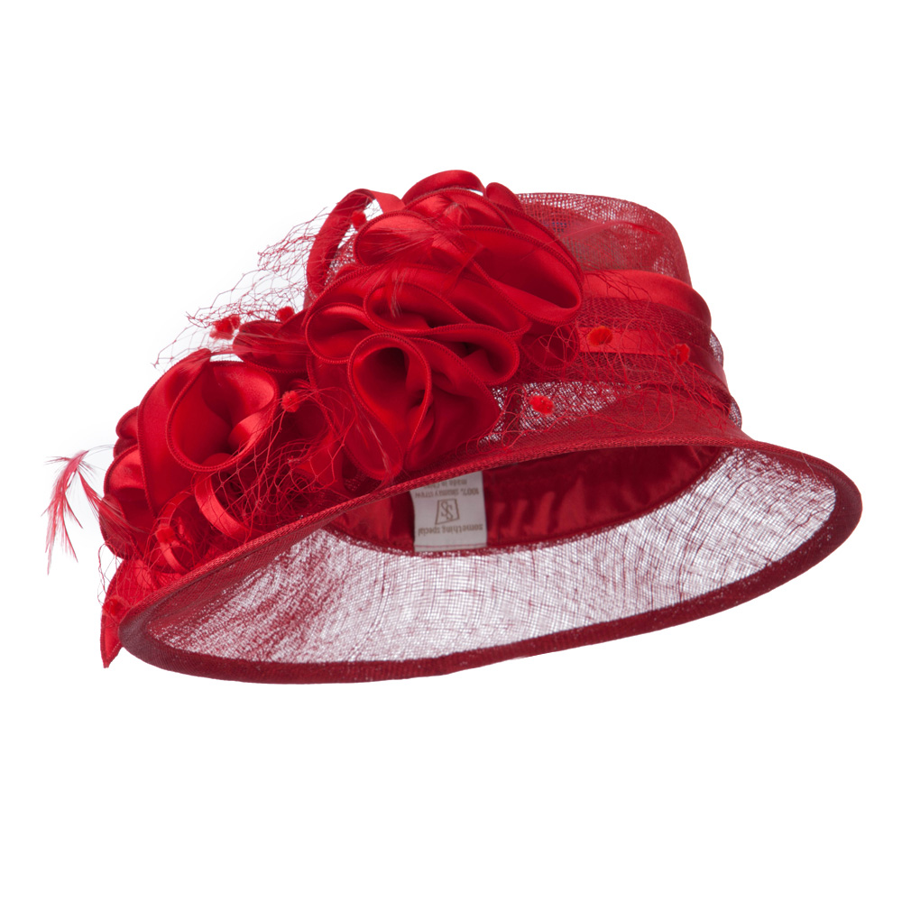 Slanted Brim Fashion Sinamay Hat - Red - Hats and Caps Online Shop - Hip Head Gear