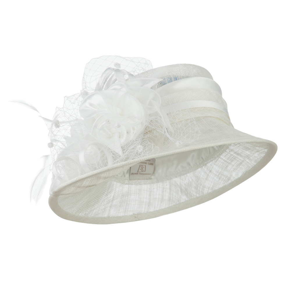Slanted Brim Fashion Sinamay Hat - White - Hats and Caps Online Shop - Hip Head Gear