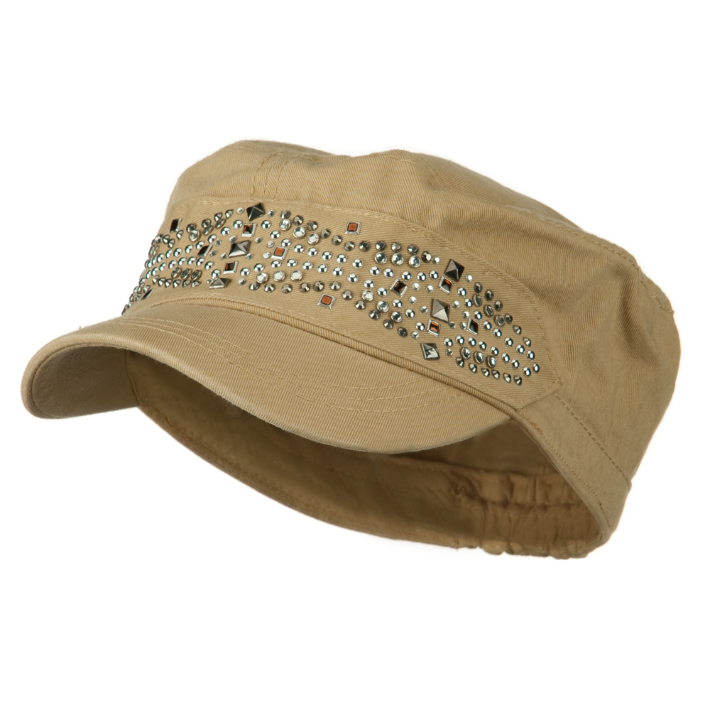 Military Cap with Stud - Beige - Hats and Caps Online Shop - Hip Head Gear
