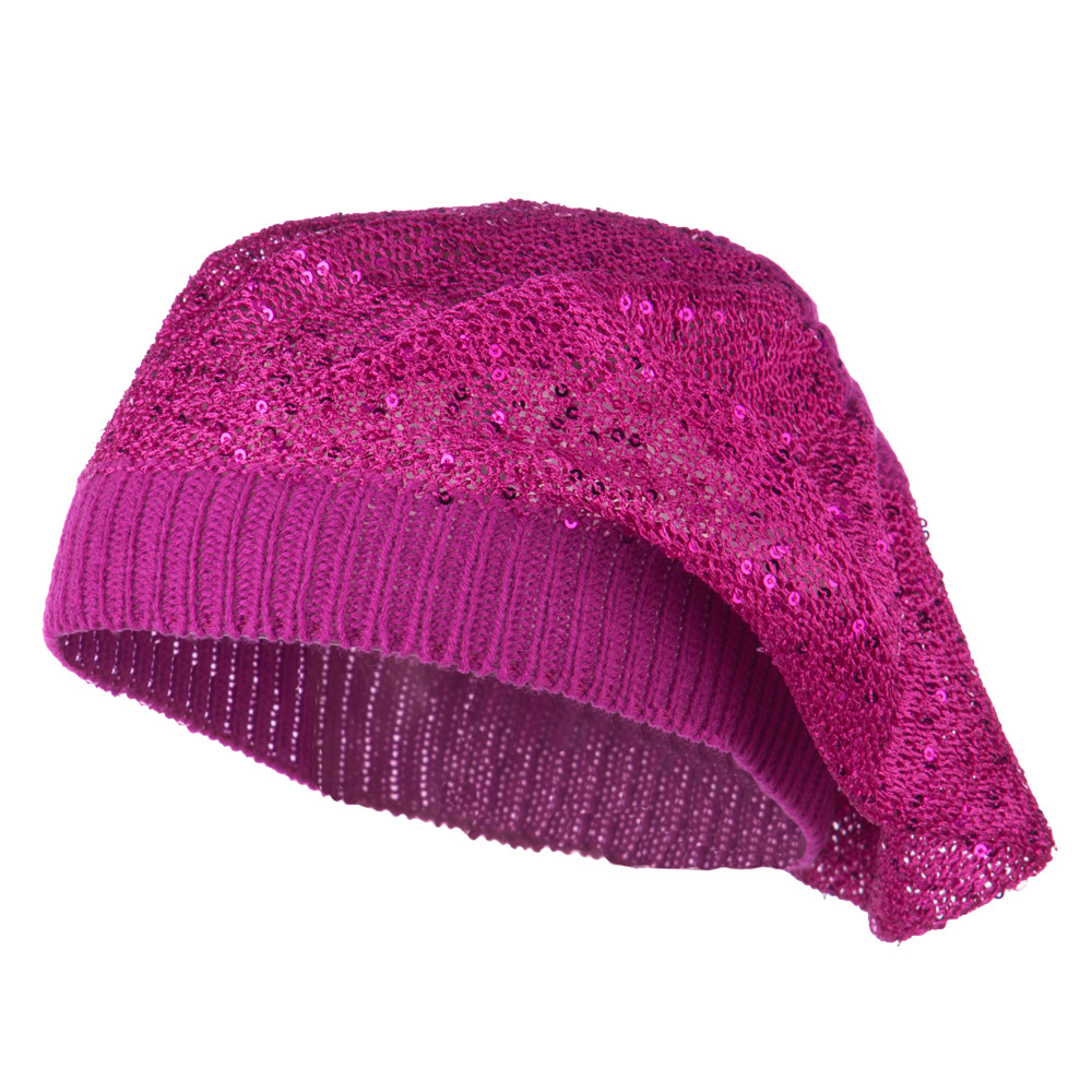 Sequin Nylon Stretchable Beret - Magenta - Hats and Caps Online Shop - Hip Head Gear