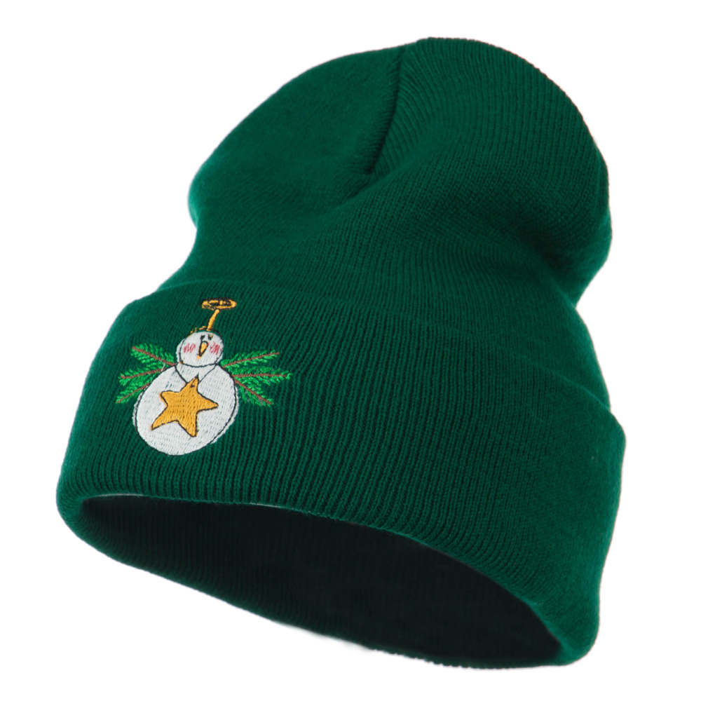 Snowman Christmas Ornament Embroidered Beanie - Green