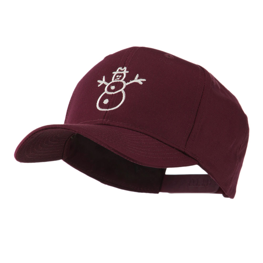 Christmas Snowman Outline Embroidered Cap - Maroon - Hats and Caps Online Shop - Hip Head Gear