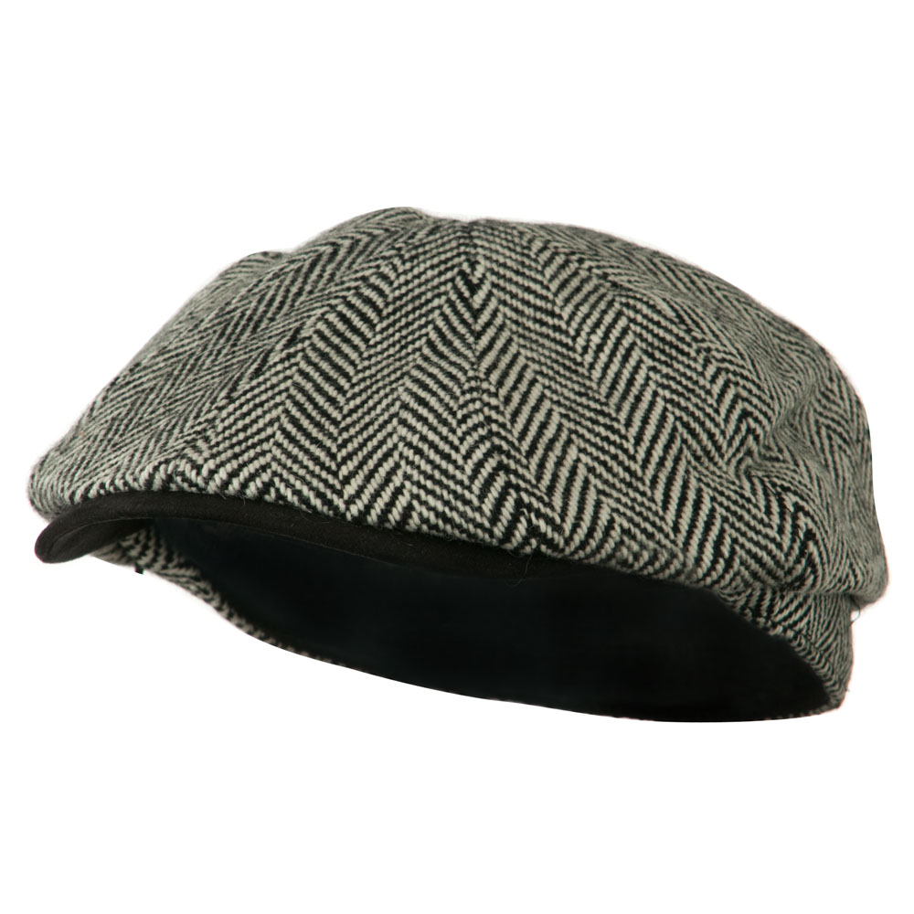 Suede Peak Bill Herringbone Newsboy Cap - Black - Hats and Caps Online Shop - Hip Head Gear