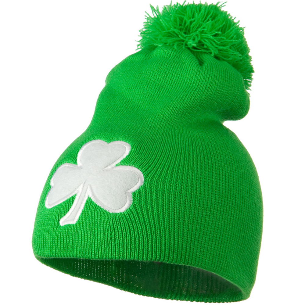 Shamrock and Pom Pom Knit Hat - Green - Hats and Caps Online Shop - Hip Head Gear