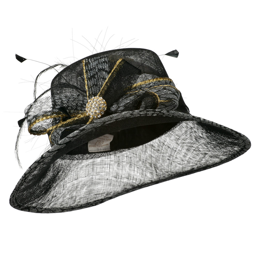 Snake Print Trimming Sinamay Hat - Black - Hats and Caps Online Shop - Hip Head Gear