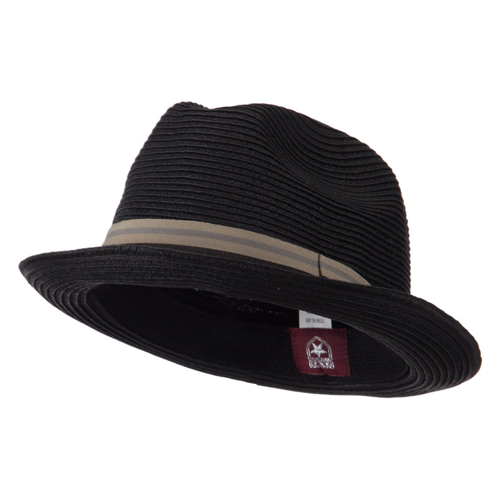 Striped Band Paper Straw Fedora - Black - Hats and Caps Online Shop - Hip Head Gear
