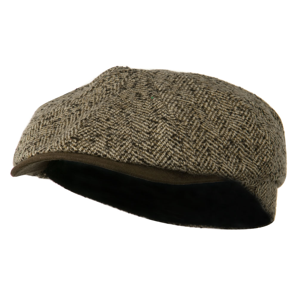Suede Peak Bill Herringbone Newsboy Cap - Brown - Hats and Caps Online Shop - Hip Head Gear