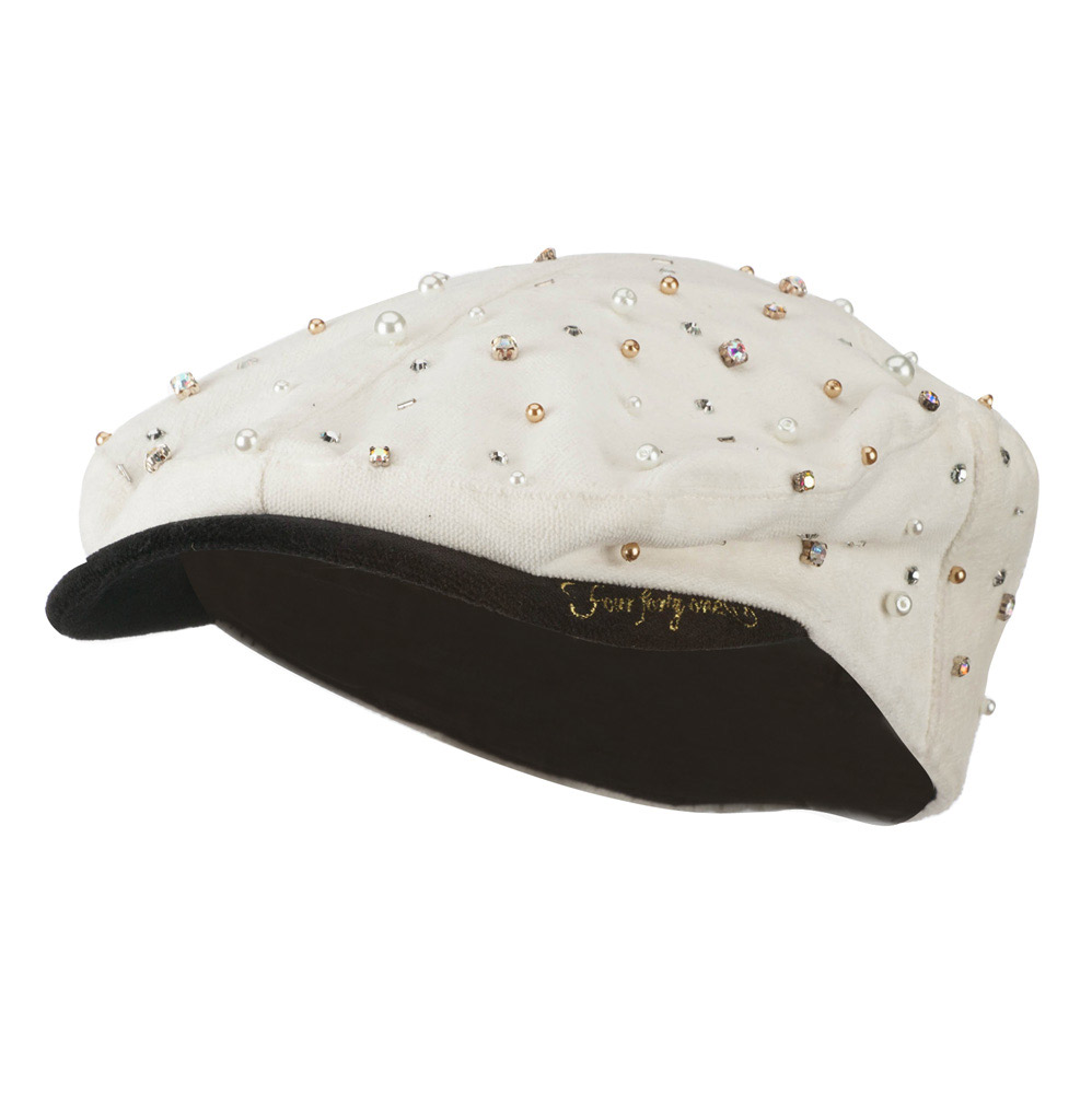 Beaded Stone and Pearl Accent Ivy Hat - Ivory - Hats and Caps Online Shop - Hip Head Gear