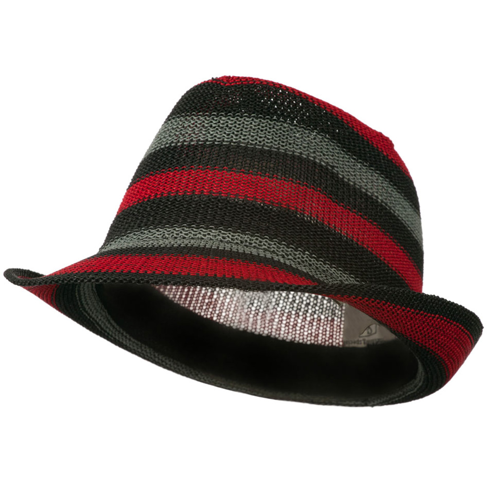 Stripe Paper Fedora Hat - Red Grey Black - Hats and Caps Online Shop - Hip Head Gear