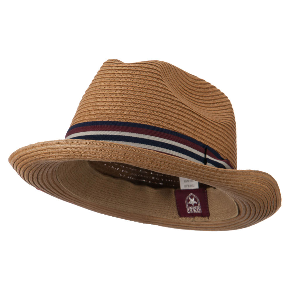 Striped Band Paper Straw Fedora - Khaki - Hats and Caps Online Shop - Hip Head Gear