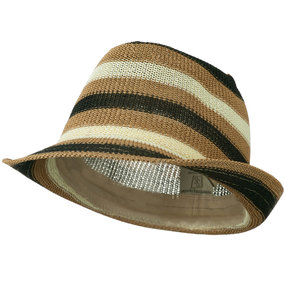 Stripe Paper Fedora Hat - Natural Ivory Black - Hats and Caps Online Shop - Hip Head Gear