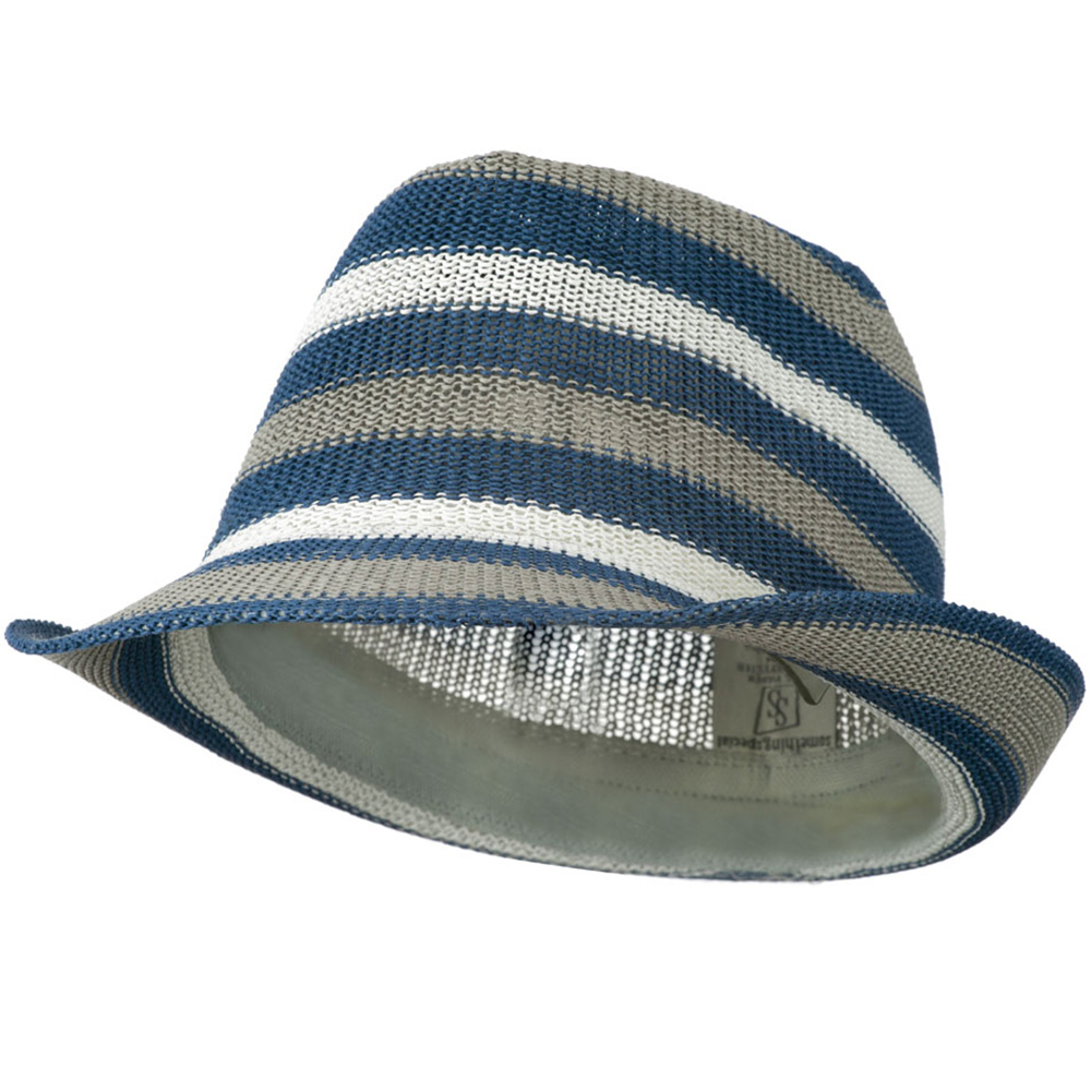 Stripe Paper Fedora Hat - Blue Grey White - Hats and Caps Online Shop - Hip Head Gear
