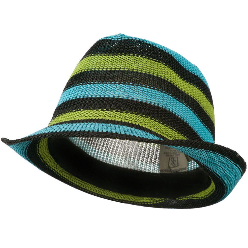 Stripe Paper Fedora Hat - Turquoise Lime Black - Hats and Caps Online Shop - Hip Head Gear