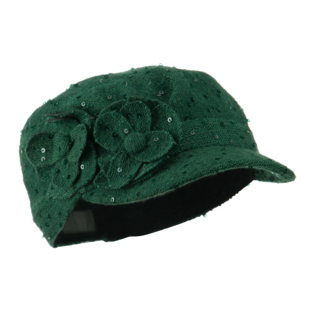 Sequin Military Cap with Two Flowers - Green - Hats and Caps Online Shop - Hip Head Gear