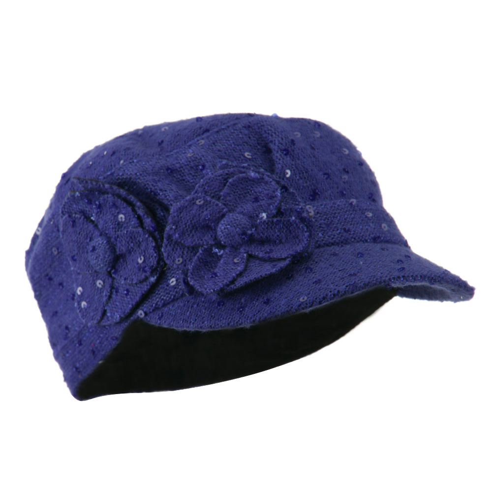 Sequin Military Cap with Two Flowers - Purple - Hats and Caps Online Shop - Hip Head Gear
