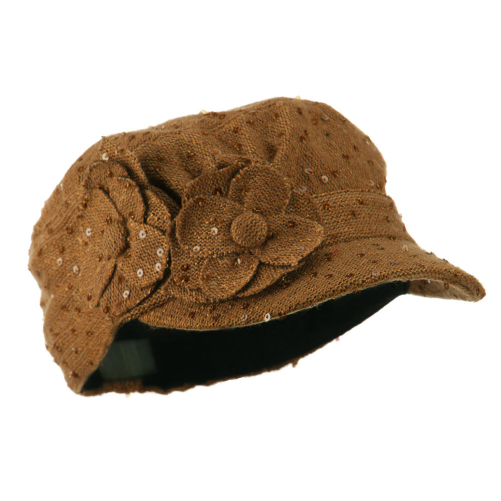 Sequin Military Cap with Two Flowers - Camel - Hats and Caps Online Shop - Hip Head Gear