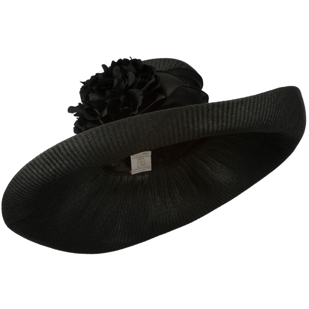 Big Flower Straw Roll Up Brim Hat - Black - Hats and Caps Online Shop - Hip Head Gear