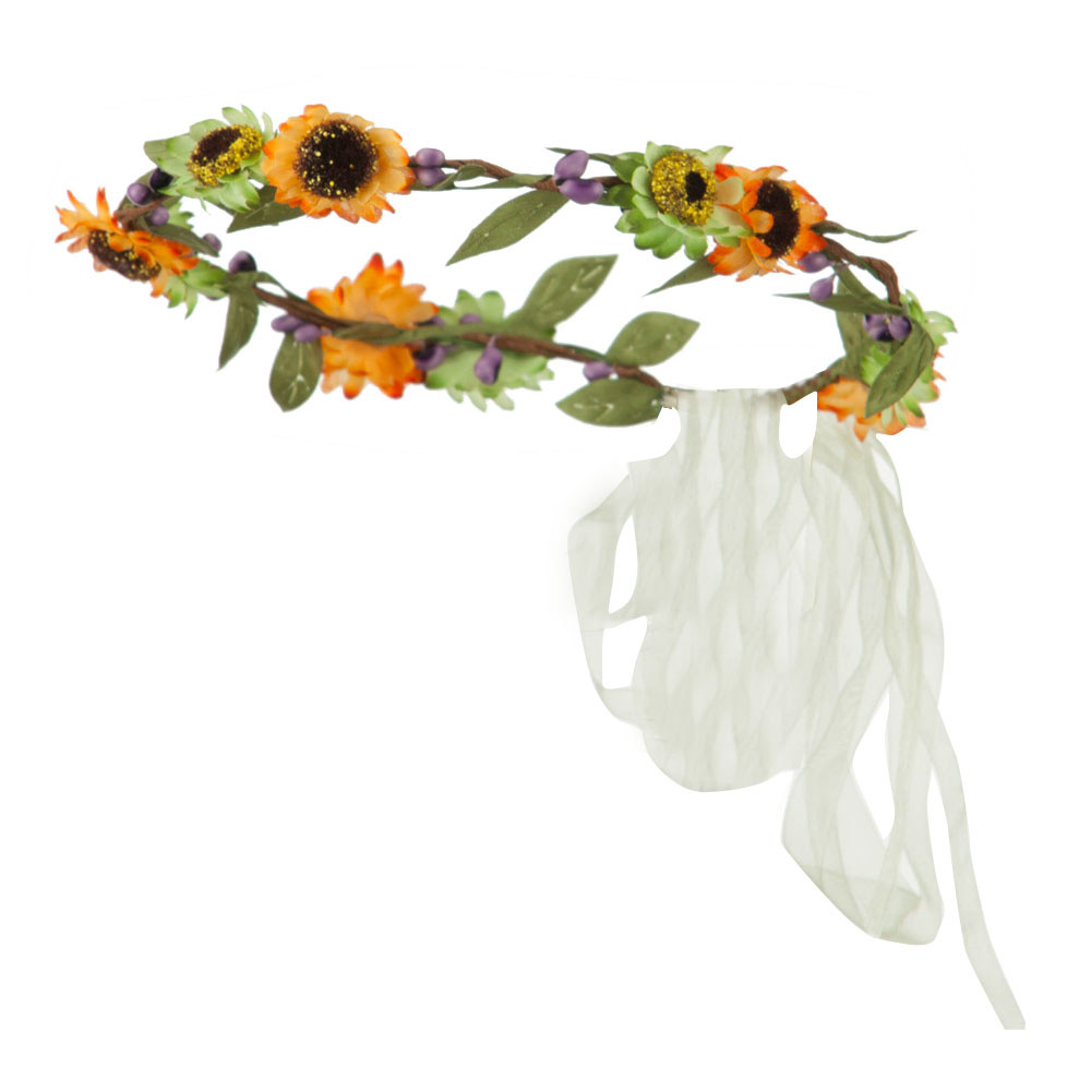 Floral Wreath and Silk Ribbon Headband - Orange Green - Hats and Caps Online Shop - Hip Head Gear