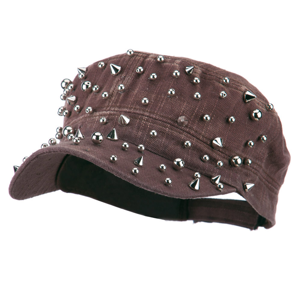 Spike and Round Stud Military Cap - Brown - Hats and Caps Online Shop - Hip Head Gear