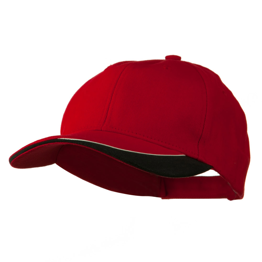 Brushed Cotton Sun Ray Visor Cap - Red Black - Hats and Caps Online Shop - Hip Head Gear