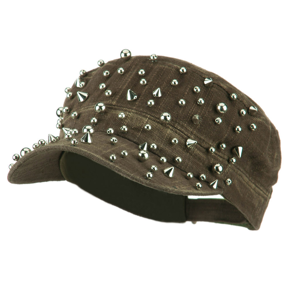Spike and Round Stud Military Cap - Olive - Hats and Caps Online Shop - Hip Head Gear