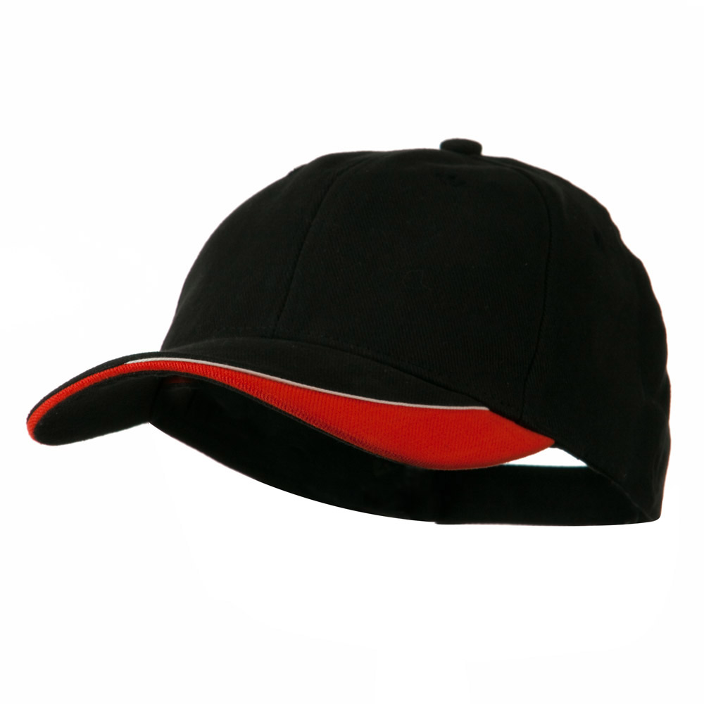 Brushed Cotton Sun Ray Visor Cap - Black Orange - Hats and Caps Online Shop - Hip Head Gear