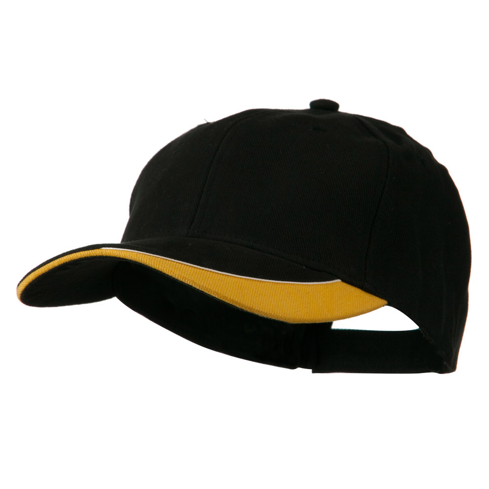 Brushed Cotton Sun Ray Visor Cap - Black Gold - Hats and Caps Online Shop - Hip Head Gear