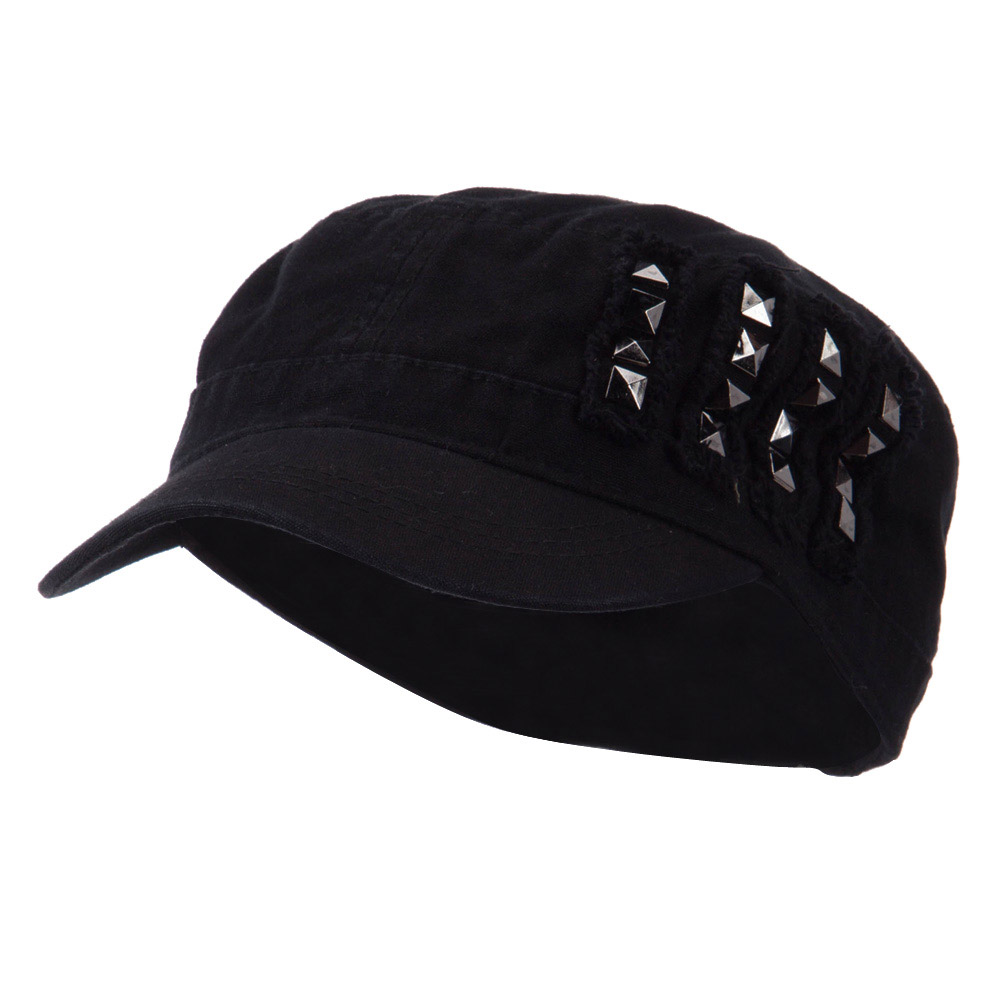 Army Cap with Studs - Black - Hats and Caps Online Shop - Hip Head Gear