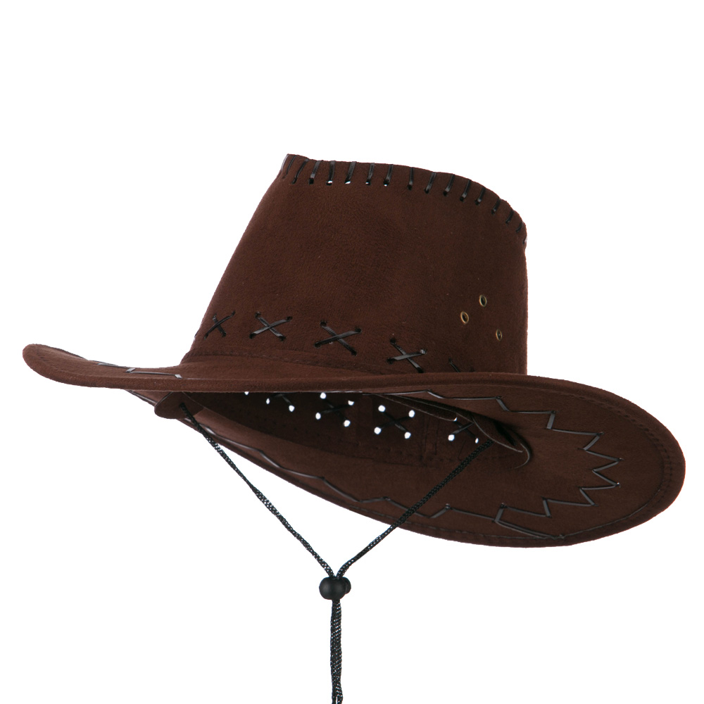 Stitched Suede Cowboy Hat - Brown - Hats and Caps Online Shop - Hip Head Gear