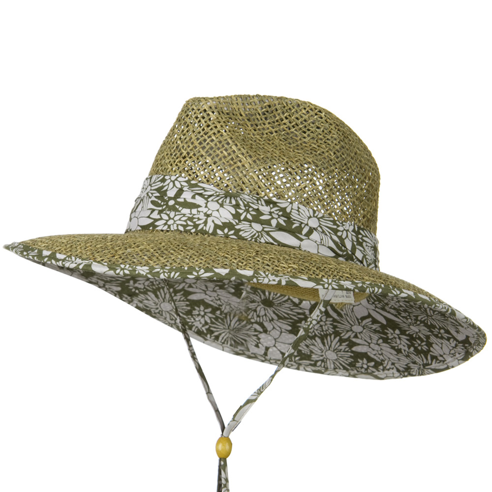 Safari Seagrass Underbrim Hat - Floral - Hats and Caps Online Shop - Hip Head Gear