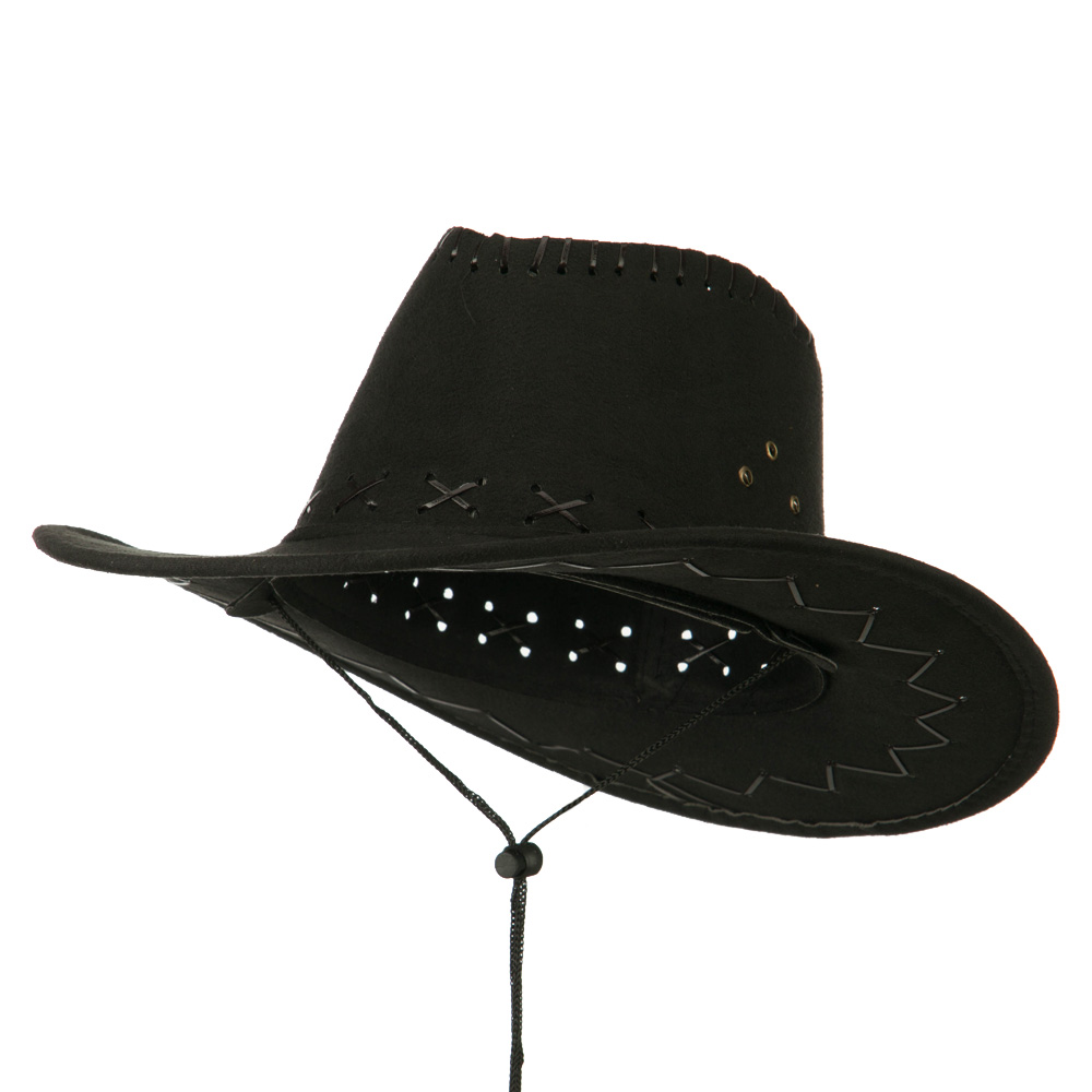 Stitched Suede Cowboy Hat - Black - Hats and Caps Online Shop - Hip Head Gear