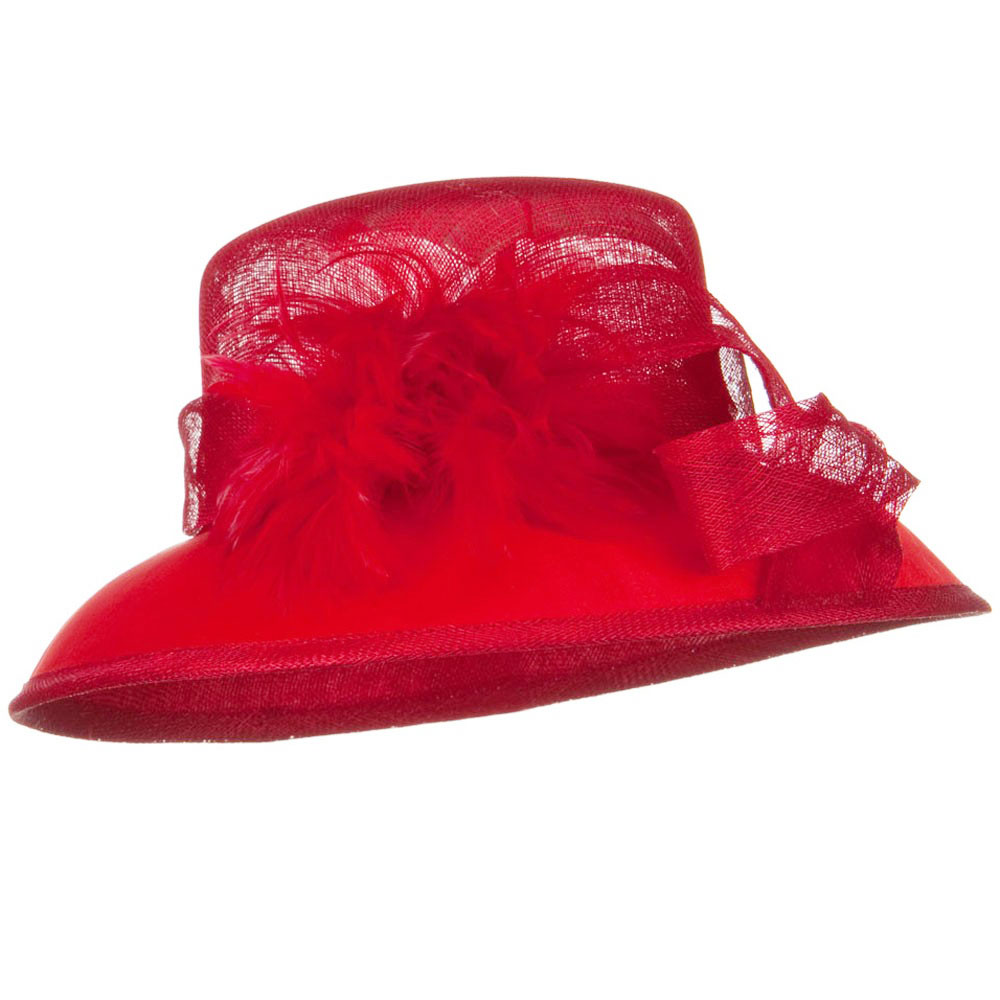 SM Covered Brim Sinamay Hat - Bringt Red - Hats and Caps Online Shop - Hip Head Gear