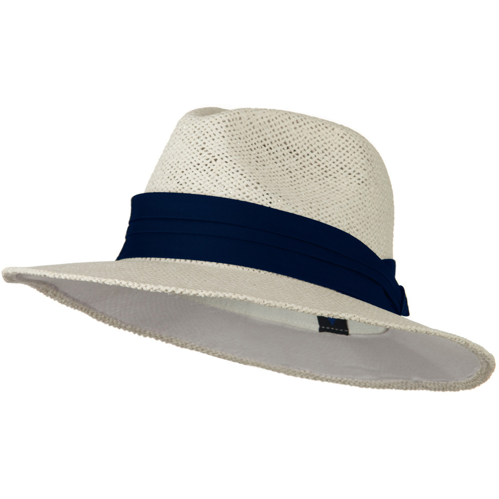 Safari Straw Hats - White Navy Band - Hats and Caps Online Shop - Hip Head Gear