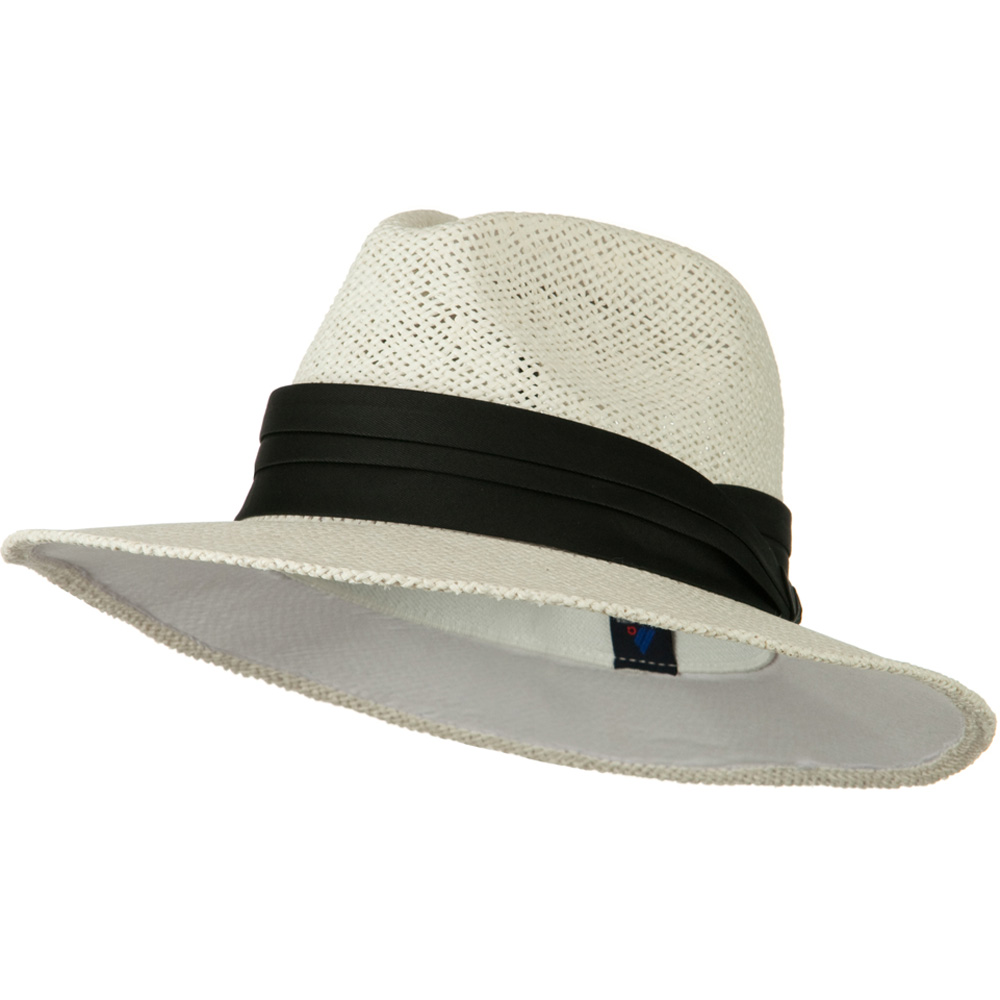 Safari Straw Hats - White Black Band - Hats and Caps Online Shop - Hip Head Gear