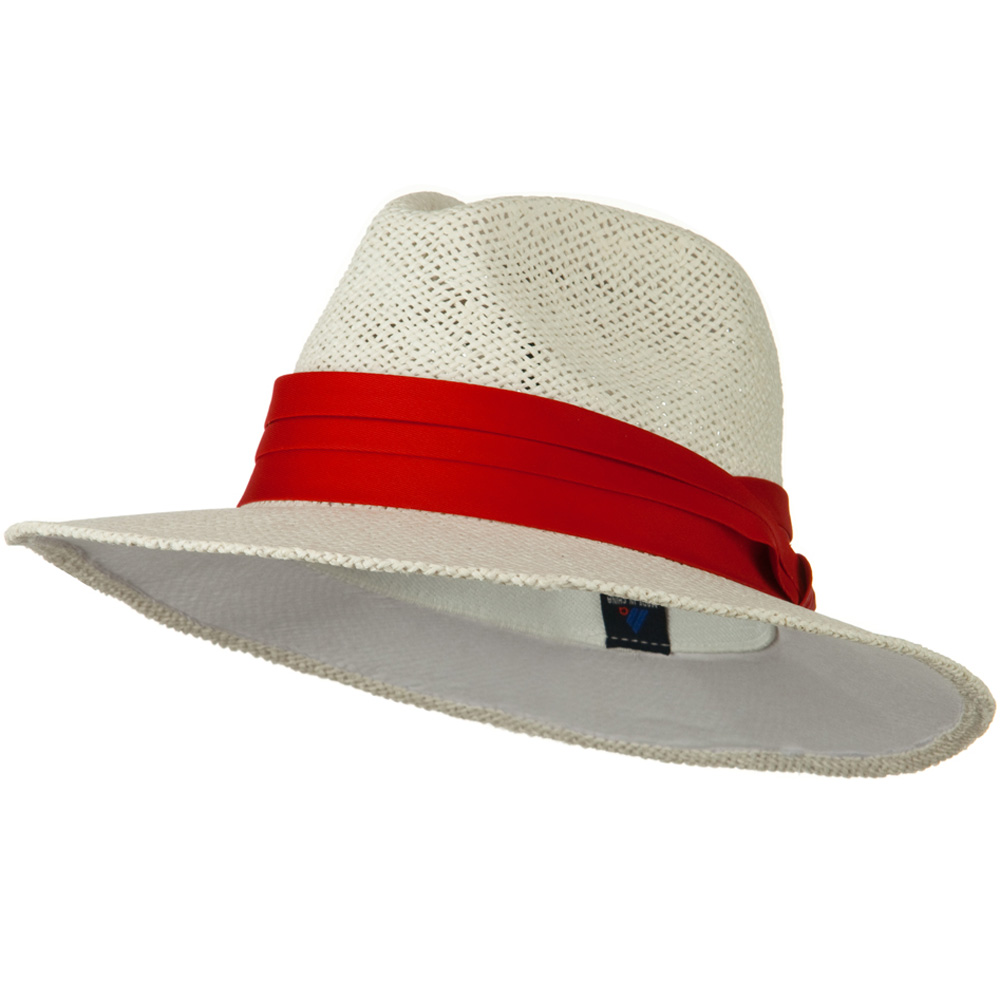 Safari Straw Hats - White Red band - Hats and Caps Online Shop - Hip Head Gear