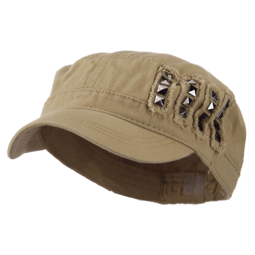 Army Cap with Studs - Tan - Hats and Caps Online Shop - Hip Head Gear