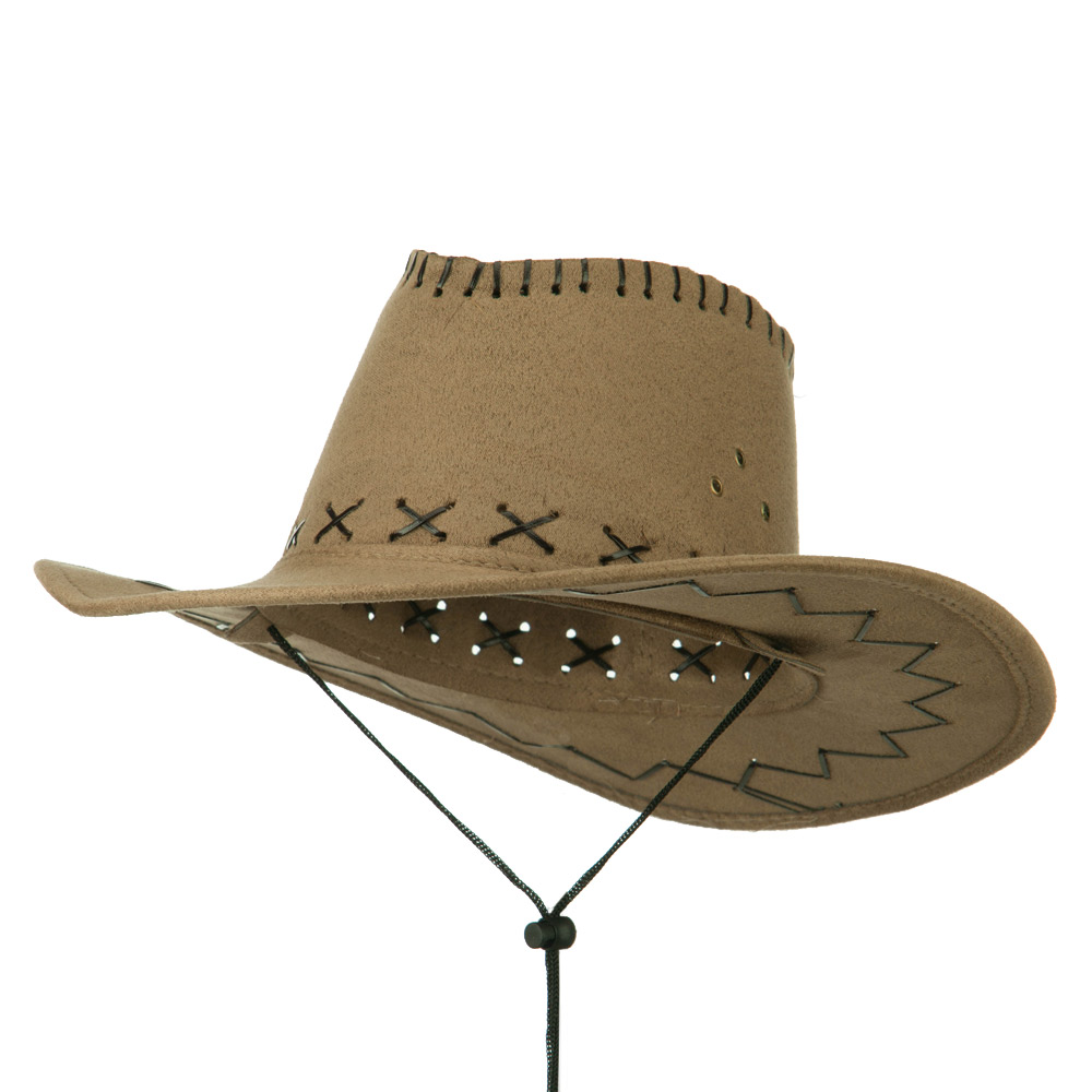 Stitched Suede Cowboy Hat - Khaki - Hats and Caps Online Shop - Hip Head Gear