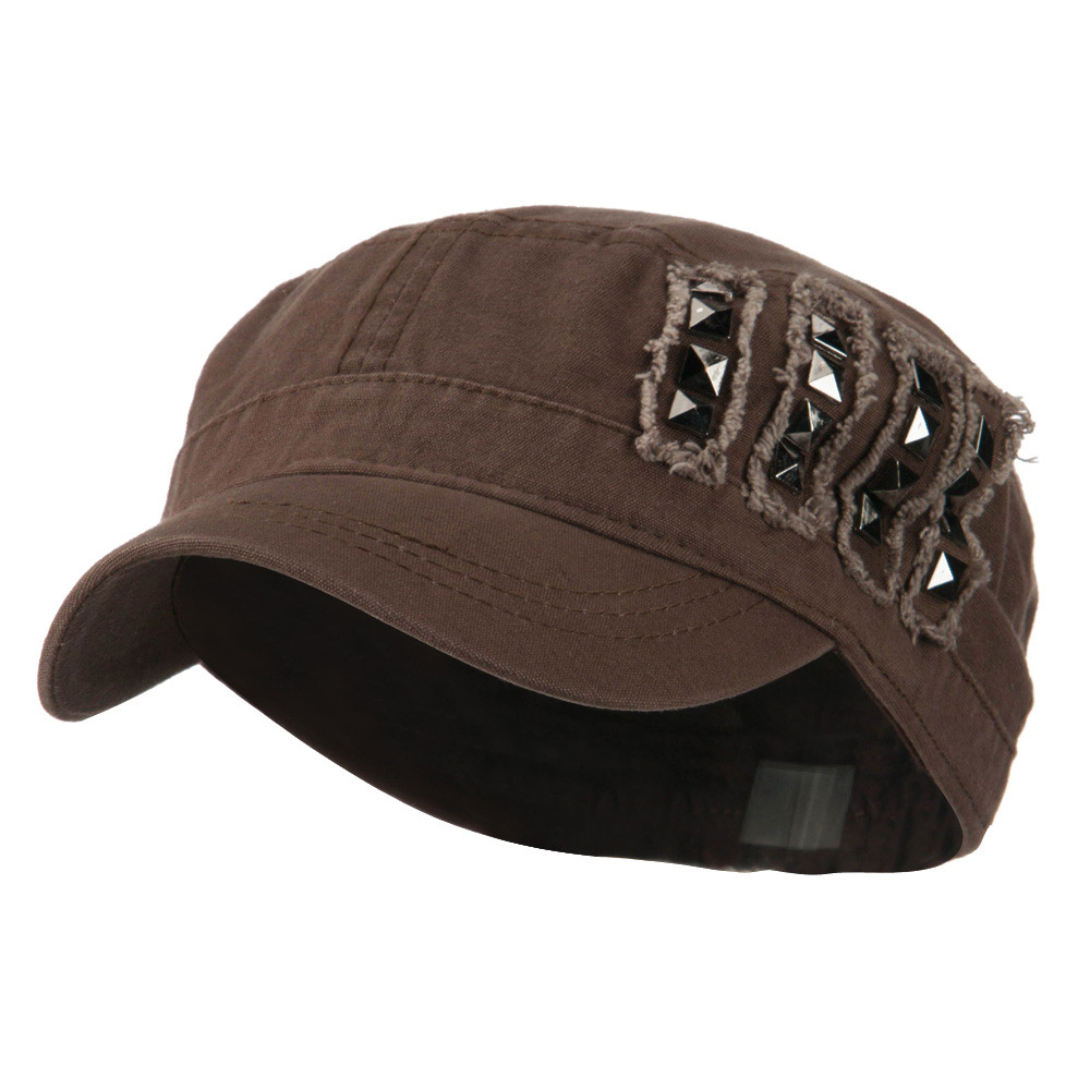 Army Cap with Studs - Brown - Hats and Caps Online Shop - Hip Head Gear