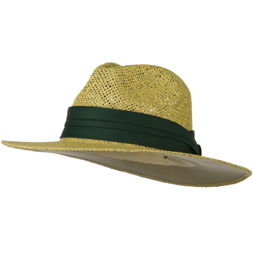 Safari Straw Hats - Natural Green Band - Hats and Caps Online Shop - Hip Head Gear