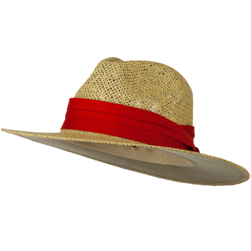 Safari Straw Hats - Natural Red Band - Hats and Caps Online Shop - Hip Head Gear