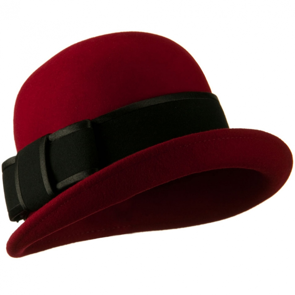 Cloche Wool Felt Satin Bow Trim Hat - Dark Red