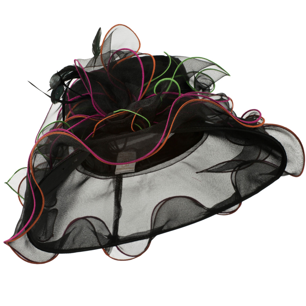 Multi Colors Stitching Organza Hat - Black - Hats and Caps Online Shop - Hip Head Gear