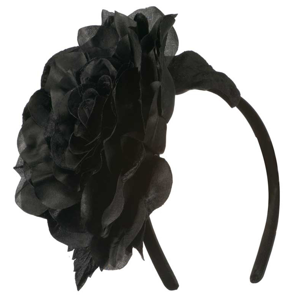 6 Inch Flower Satin Covered Headband - Black - Hats and Caps Online Shop - Hip Head Gear